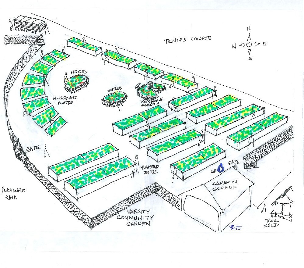 Hand-drawn map of Varsity Community Garden in Calgary